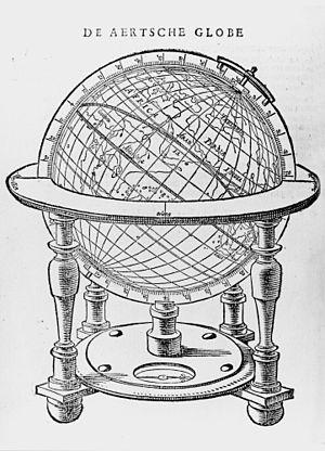 Robert Hues - A drawing of Molyneux's terrestrial globe from Tractaet ofte Handelinge van het gebruyck der Hemelscher ende Aertscher Globe, the 1623 Dutch version of Hues' Tractatus de globis