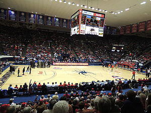 The Robins Center before a basketball game in February, 2013