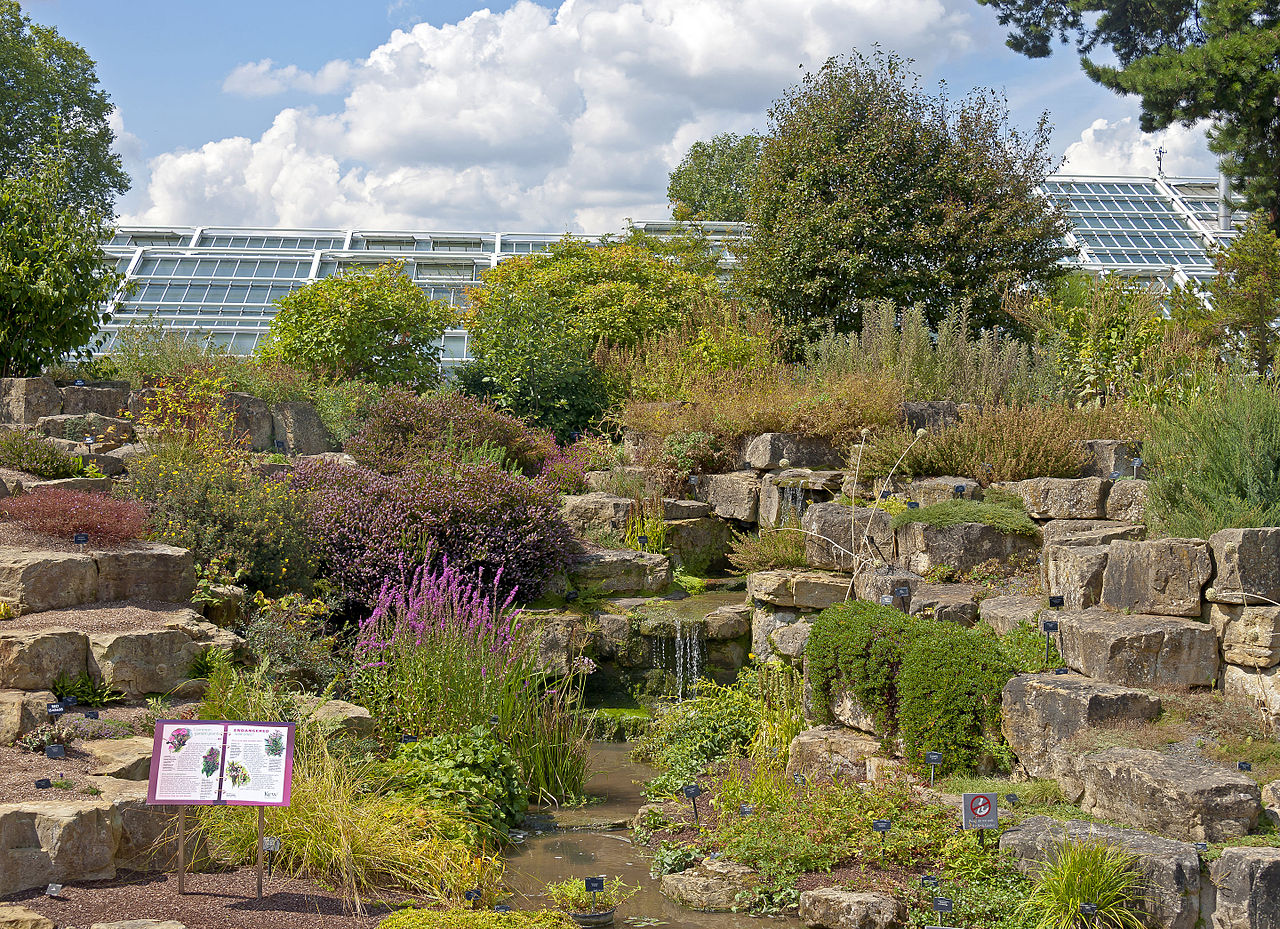 File:Rock and water feature with Princess of Wales Conservatory, Kew ...
