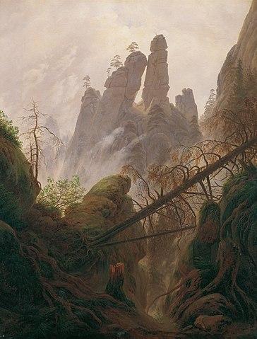 Каспар Фридрих. Горный пейзаж у Эльбы. <i>Между 1822—1823, масло, холст, 94 × 74 см. Галерея Бельведер</i>