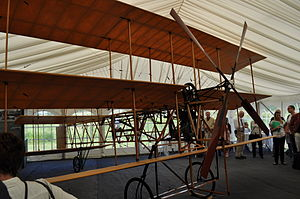 "Roe I Triplane - A replica Roe I Triplane, at an event to commemorate the 100th anniversary of the all-British ""first flight"" on Walthamstow Marshes"