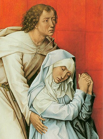 Crucifixion Diptych (van der Weyden) - Detail of the Mary and St. John panel.