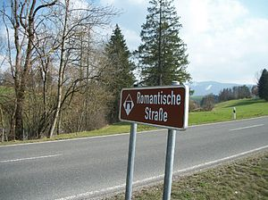 Romantic Road - Roadsign near Peiting, note the Alps at the background