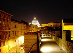 "Passetto di Borgo - over the ""Passetto"", going towards the Vatican."