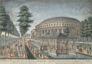 "Ranelagh Gardens - The exterior of the Rotunda at Ranelagh Gardens, the ""Chinese House"", and part of the grounds; engraving by Thomas Bowles, 1754."