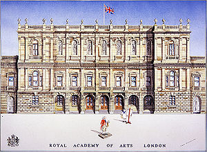 Royal Academy of Arts - A 19th century illustration of the Royal Academy