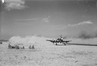 No. 85 Group RAF - A Typhoon of 2nd TAF takes off from airstrip B2 at Bazenville, Normandy.