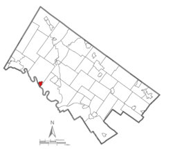 Location of Royersford in Montgomery County, Pennsylvania.