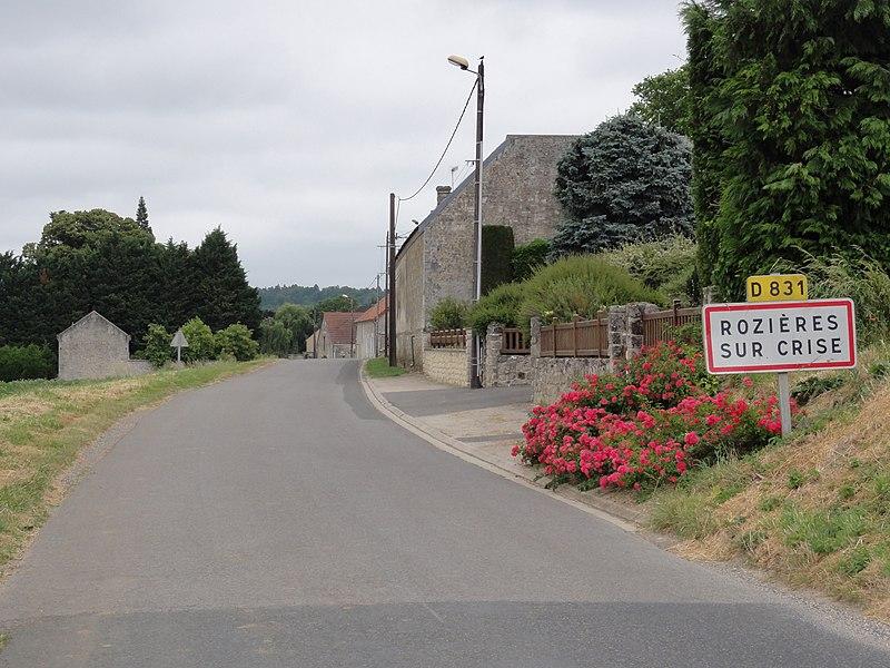 Rozières-sur-Crise (Aisne) city limit sign