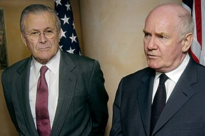 John Reid, Baron Reid of Cardowan - Reid and United States Secretary of Defense Donald Rumsfeld answer press questions in Taormina, Sicily (9 February 2006)