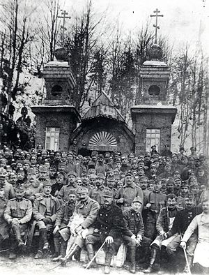 Russian Chapel on the Vršič Pass - Russian chapel in 1916 (built by Russian prisoners of war); the front row are Austro-Hungarian guards