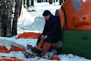 William Shepherd - Shepherd during Soyuz winter survival training in March 1998 near Star City, Russia