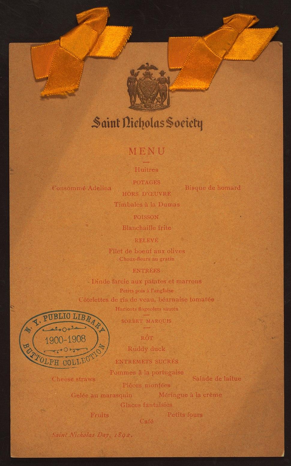 SAINT NICHOLAS DAY (held by) SAINT NICHOLAS SOCIETY (at) (NYPL Hades-270180-474830)