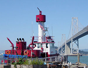 San Francisco Fire Department - Fireboat Guardian stands on alert status near the Bay Bridge.