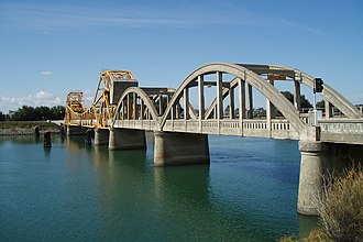 Isleton, California - Arched bridge with drawbridge section over the Sacramento River just north of Isleton