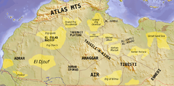Map of the topographic features of the Sahara