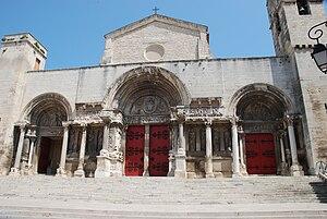 Abbey of Saint-Gilles - Entrance portico.
