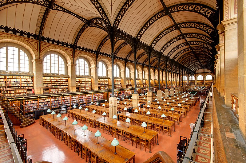 Reading room of the Saint Genevieve library in Paris