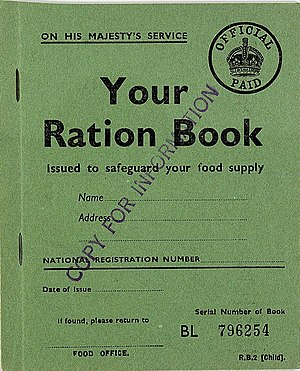 1940 in the United Kingdom - Child's ration book