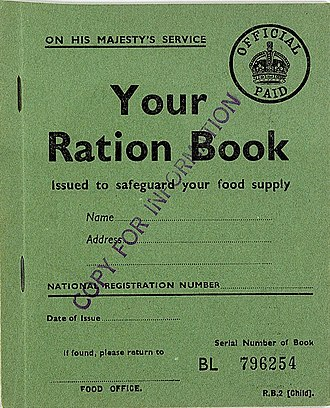 Rationing - Child's ration book, used in Britain during the Second World War