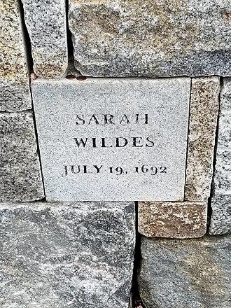 Sarah Wildes - Sarah Wildes' Memorial Marker