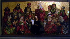 Servatius of Tongeren - The extended family of Saint Servatius, including Jesus, Mary, John the Baptist and Saint Anne (16th-century panel, Treasury of the Basilica of Saint Servatius)