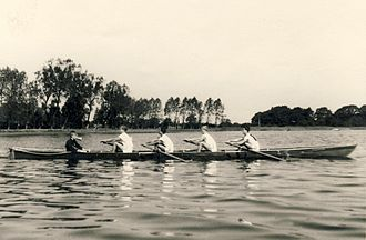 Rowing has a long tradition for many German Gymnasia: Students participating in a Regatta in Neumunster, 1959 Schuelerrudern 1959.jpg