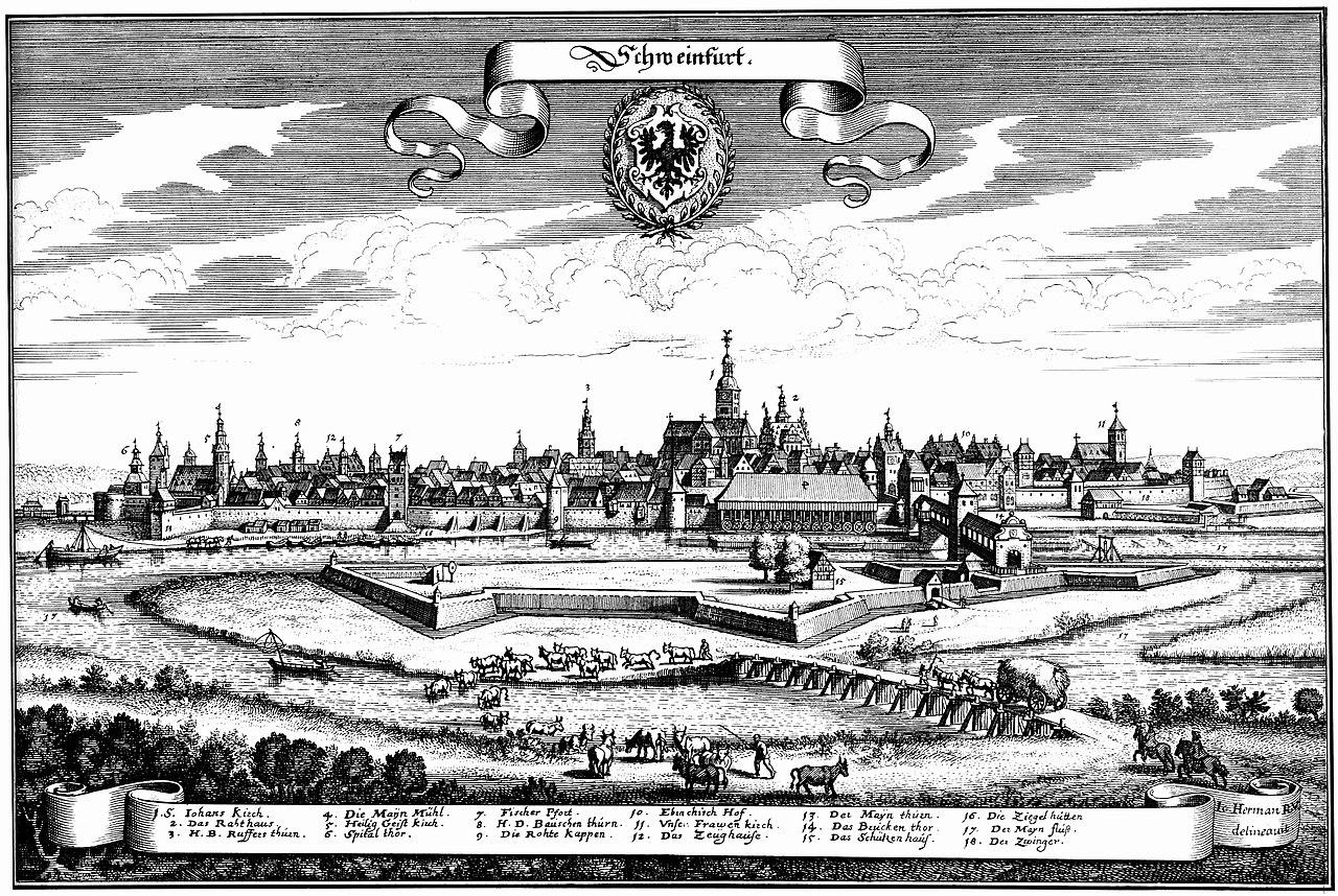 Reichsstadt Schweinfurt 1648.Beide Bilder: Matthäus Merian, Frankfurt a. M.