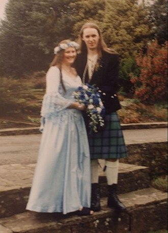 Civil ceremony - A Celtic Handfast or Wedding Blessing (performed by a Civil Celebrant) with witnesses present, at Glamis, Scotland.