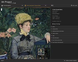 Google Art Project - Image: Screenshot Google Art Project Manet Wintergarten