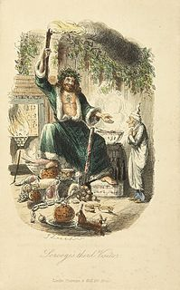 Ghost of Christmas Present fictional character in A Christmas Carol by Dickens; the 2nd of the 3 spirits haunting Scrooge; a giant with brown curls, fur-lined green robe, a holly wreath with icicles and a torch; shows Scrooge ongoing Christmastime festivity and deprivation