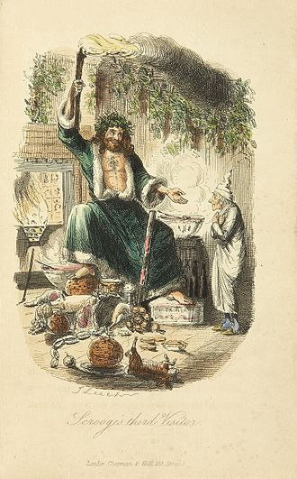 "Santa Claus - ""Ghost of Christmas Present"", an illustration by John Leech made for Charles Dickens's festive classic A Christmas Carol (1843)."