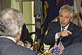 Secretary of Defense Chuck Hagel hosted a working lunch for Australian Minister for Defense Stephen Smith at the Pentagon.jpg