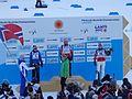 Seierspallen etter 30km kvinner VM i Lahti 2017. Marit, Heidi og Astrid.jpg