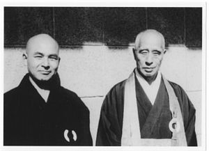 Keido Fukushima - Keidō Fukushima with his teacher Zenkei Shibayama in the USA, 1969.