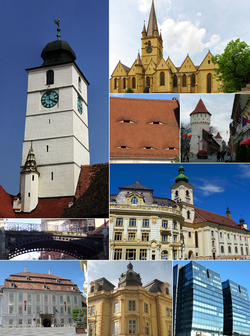 From top, left to right: Council Tower (city symbol) • Lutheran Cathedral • Eyes of Sibiu • Medieval fortifications • Bridge of Lies • City hall and Jesuit Church • Brukenthal Palace • Neo-Baroque palace • Modern high-rise buildings