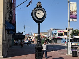The landmarked sidewalk clock on Jamaica Avenue