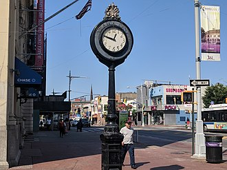 Jamaica, Queens - The landmarked sidewalk clock on Jamaica Avenue