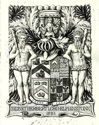 Sidney Buller-Fullerton-Elphinstone, 16th Lord Elphinstone - Lord Elphinstone's bookplate, engraved by Charles William Sherborn