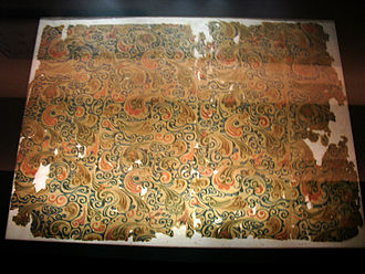 Silk - Woven silk textile from tomb no 1. at Mawangdui in Changsha, Hunan province, China, from the Western Han Dynasty, 2nd century BC