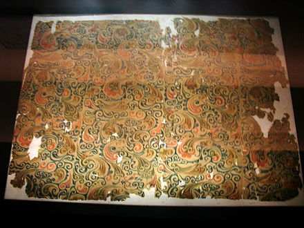 Woven silk textile from tomb no 1. at Mawangdui in Changsha, Hunan province, China, from the Western Han dynasty, 2nd century BC Silk from Mawangdui 2.jpg