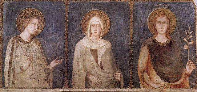 Simone Martin (1280-1344): De hellige Elisabeth, Margareta og Emerik av Ungarn, freske i den nedre basilikaen San Francesco i Assisi, 1318
