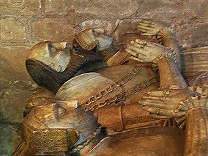 Thomas Giffard - Sir Thomas Giffard and his wives, Dorothy Montgomery and Ursula Throckmorton, as portrayed on their tomb in Brewood parish church, Staffordshire.