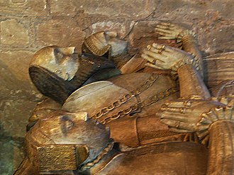 Thomas Giffard - Sir Thomas Giffard and his wives, Dorothy Montgomery and Ursula Throckmorton, as portrayed on their tomb in Brewood parish church, Staffordshire.