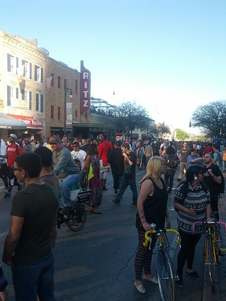 A view of 6th Street in downtown Austin, Texas, during SXSW 2013 Sixth Street SXSW 2013-025426539592444897.jpg