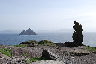 "Skellig Michael - View of the ""Wailing Woman"" rock with Little Skellig in the distance"