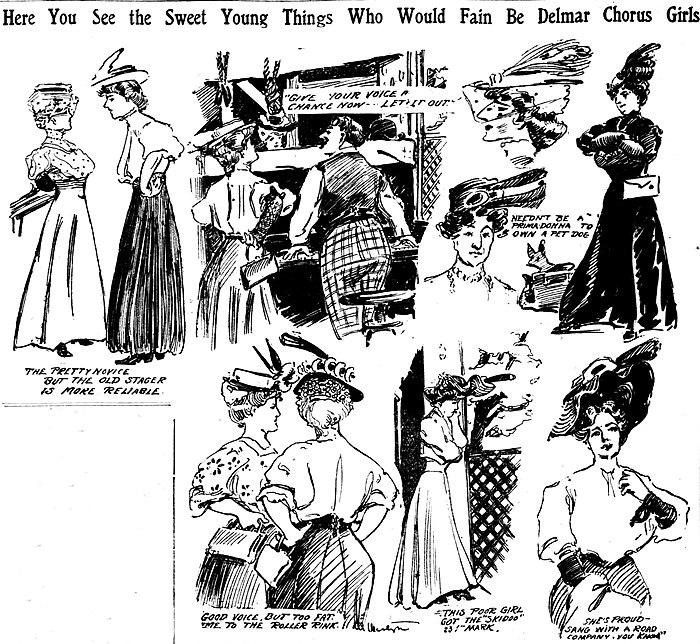 Sketches by artist Marguerite Martyn of women trying out for the chorus at the Delmar Theater in St. Louis in May 1906, with quotations from some of those pictured Sketches of women at audition for the chorus at Delmar Garden theater in St. Louis, 1906.jpg