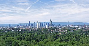 Frankfurt City Forest - Frankfurt City Forest seen from Goethe Tower, Frankfurt's skyline in the background (2007)