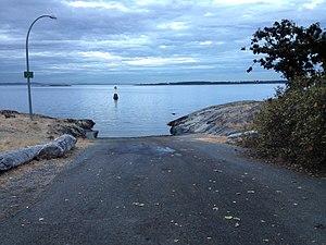 Slipway - Cement slipway in Canada for boat trailers.