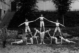 Human pyramid - Sokol exercises in year 1924